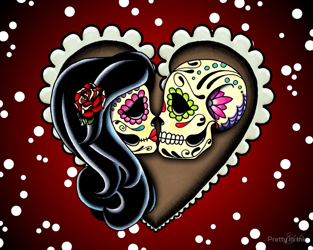 Ashes Valentines Day Of The Dead Couple Sugar Skull