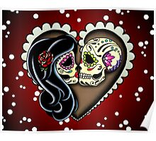 Ashes - Day of the Dead Couple - Sugar Skull Lovers Poster