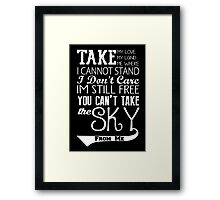 Firefly Theme song quote (white version) Framed Print