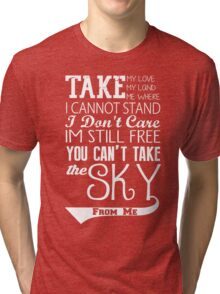 Firefly Theme song quote (white version) Tri-blend T-Shirt