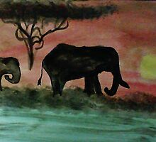 Elephants in a sunset, watercolor by Anna  Lewis, blind artist