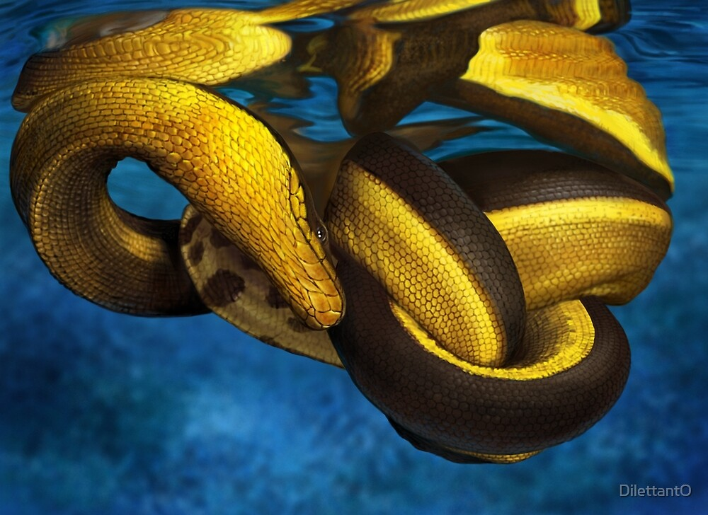 YELLOW-BELLIED SEASNAKE (Pelamis platurus) DIGITAL PAINTING. NOT A PHOTOGRAPH by DilettantO