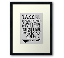 Firefly Theme song quote Framed Print