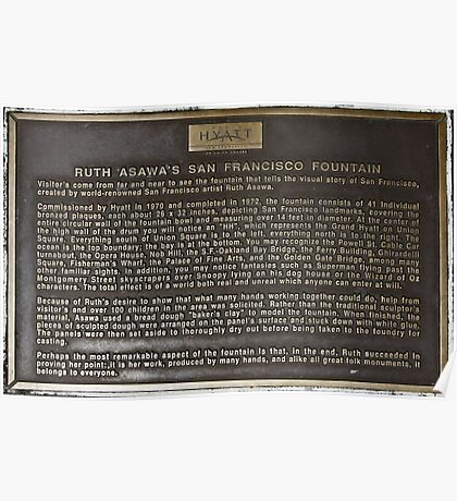 Ruth Asawa's San Francisco Fountain plaque Poster