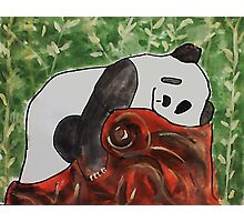 Panda Bear sleeping on a log, watercolor Photographic Print
