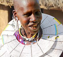 Happy Maasai (or Masai) Woman, East Africa  by Carole-Anne
