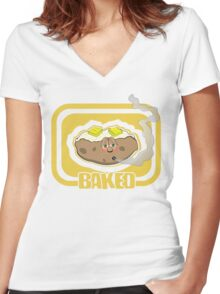 Funny Shirt - Baked Women's Fitted V-Neck T-Shirt