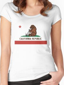 Funny Shirt - California State Flag Women's Fitted Scoop T-Shirt