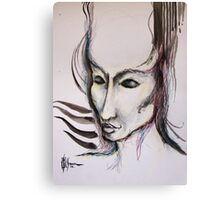 experiment with derwents and sumi ink with pen and brush Canvas Print