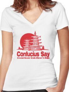 Funny Shirt - Confucius Say Women's Fitted V-Neck T-Shirt