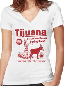 Funny Shirt - Tijuana Donkey Show Women's Fitted V-Neck T-Shirt