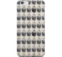 Black white hand painted watercolor owl pattern iPhone Case/Skin