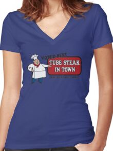 Funny Shirt - Tube Steak  Women's Fitted V-Neck T-Shirt
