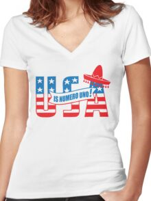 Funny Shirt - USA Is Numero Uno Funny Women's Fitted V-Neck T-Shirt