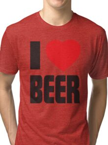 Funny Shirt - I Love Beer Tri-blend T-Shirt