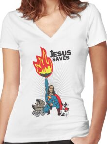 Funny Shirt - Jesus Saves Women's Fitted V-Neck T-Shirt