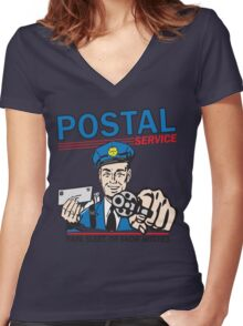 Funny Shirt - Postal Women's Fitted V-Neck T-Shirt