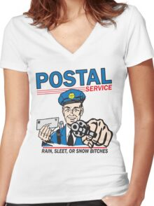 Funny Shirt - Postal Women's Fitted V-Neck T-Shirt