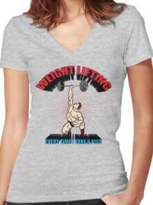 Funny Shirt - Weight Lifting Women's Fitted V-Neck T-Shirt