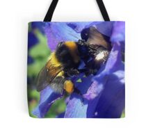 Bumblebee with pollen on delphinium Tote Bag