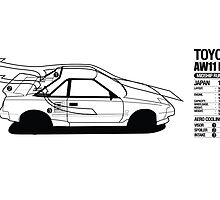 Toyota AW11 MR2 - AERO Graphic - PRINT by Lindsay Thebus
