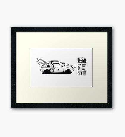 Toyota AW11 MR2 - AERO Graphic - PRINT Framed Print