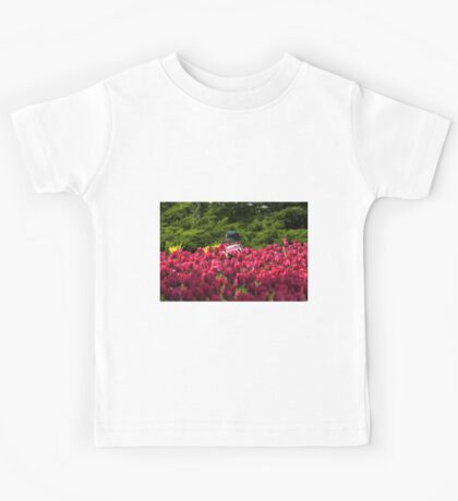 Toddler in a Sea of Tulips Kids Tee
