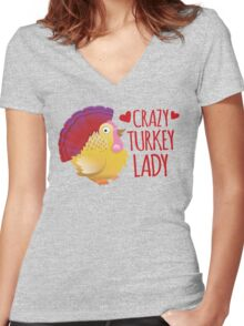 Crazy Turkey lady Women's Fitted V-Neck T-Shirt