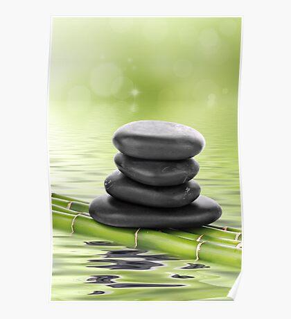 Zen basalt stones on bamboo Poster