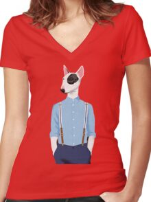Skinhead Bull Terrier Women's Fitted V-Neck T-Shirt