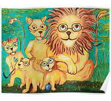 Lions Wearing Glasses Poster