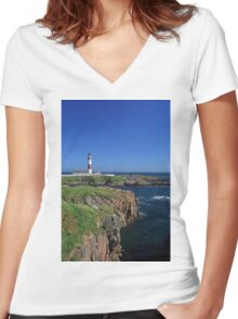 Buchan Ness Lighthouse Women's Fitted V-Neck T-Shirt