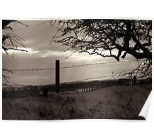 Barbed-Wire Fence in the Snow Poster