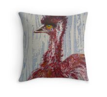 Emu in Red !!! Throw Pillow