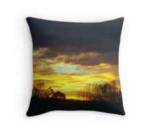 Autumn Sunrise Silhouette Throw Pillow