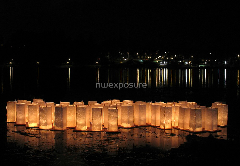 Bon Odori Lanterns Afloat on Lake by nwexposure