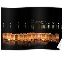 Bon Odori Lanterns Afloat on Lake Poster