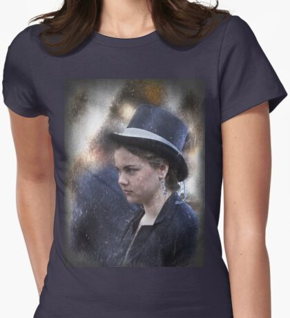Girl in a Dark Blue Hat Womens Fitted T-Shirt