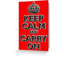 KEEP CALM, Keep Calm & Carry On, British, UK, Britain, Blighty, Chisel on Red Greeting Card