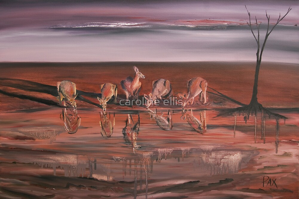 Kangaroos at the Waterhole by caroline ellis