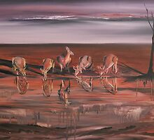 Kangaroos at the Waterhole by caroline ellis