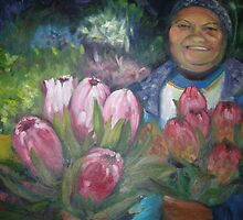 Flowerseller holding proteas. by irenee