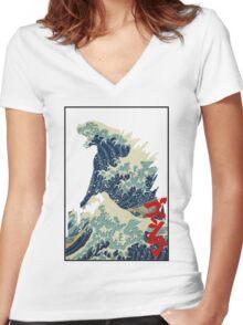 Godzilla Kanagawa wave Women's Fitted V-Neck T-Shirt