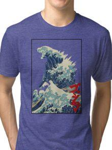 Godzilla Kanagawa wave Tri-blend T-Shirt