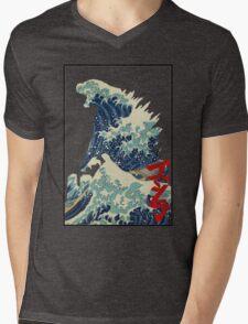 Godzilla Kanagawa wave Mens V-Neck T-Shirt