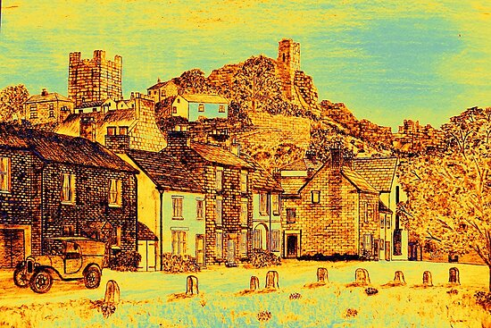 Richmond from the Green in yellow/gold by Dennis Melling