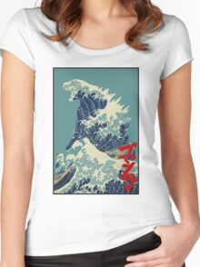 Godzilla Kanagawa wave with backgroud Women's Fitted Scoop T-Shirt