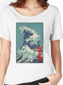 Godzilla Kanagawa wave with backgroud Women's Relaxed Fit T-Shirt