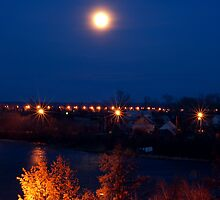 Night lights over the river by Eduard Isakov