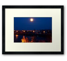 Night lights over the river Framed Print